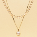 CSX-1143 Solid Beads & Charm Double Layered Necklace, WTP.IV