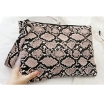 FB016 Python Pattern Big Clutch, Khaki