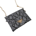 FB017 Python Pattern Clutch & Cross-body Chain Bag, Black