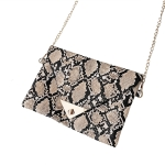 FB017 Python Pattern Clutch & Cross-body Chain Bag, Khaki