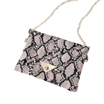 FB017 Python Pattern Clutch & Cross-body Chain Bag, Pink