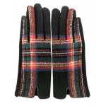 FG018 Multi Plaid Smart Touch Gloves - Black