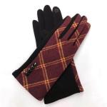 FG020 Check Pattern Smart Touch Gloves, Burgundy