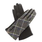 FG020 Check Pattern Smart Touch Gloves, Charcoal