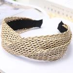 FHW081(FH039) Twist Knot Straw Headband, Beige