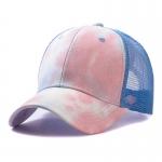 FH070 Tie-dye Color & Solid Color Mesh Baseball Cap, Blue