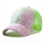 FH070 Tie-dye Color & Solid Color Mesh Baseball Cap, Green