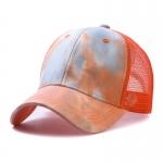 FH070 Tie-dye Color & Solid Color Mesh Baseball Cap, Orange