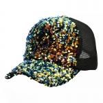 FH071 Solid Color Sequine Mesh Baseball Cap, Black