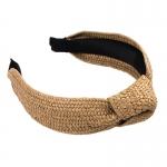FHW011 One Knot Straw Headband, H.Khaki