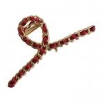 FHW064 Classic Gold Chain Hair Claw, Burgundy