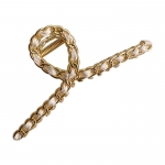FHW064 Classic Gold Chain Hair Claw, Ivory