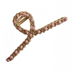 FHW064 Classic Gold Chain Hair Claw, Pink