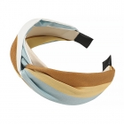 FHW077 Tri-Color One Knot Headband, Blue/Mustard