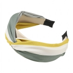 FHW077 Tri-Color One Knot Headband, Green/Yellow