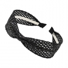 FHW080 One Single Knot Straw Headband, Black