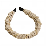 FHW084 Chain & Solid Fabric Headband, Beige