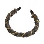 FHW084 Chain & Solid Fabric Headband, Grey