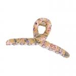 FHW090 Flower Cloth Pattern Single Hair Claw, Beige