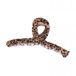 FHW091 Leopard Cloth Pattern Single Hair Claw, Brown
