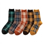 FO021 Multi Stripes & Plaid Patter Socks - 10Pcs Pack