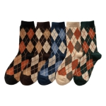 FO022 Diamond Plaid Pattern Socks - 10Pcs in Pack