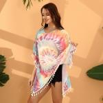 FP040 Tie-dye Pattern Summer Poncho
