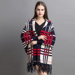 FP020 Plaid Pattern Sleeve Shrug Cape, Navy