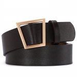 FSA010 Solid Color Faux Leather Belt - Black