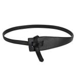 FSA013 Solid Color Faux Leather Obi Belt- Black