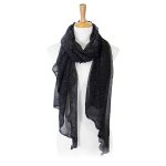LOF804 Shimmery Ruffled Oblong Scarf, Black