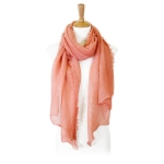 LOF804 Shimmery Ruffled Oblong Scarf, Pink