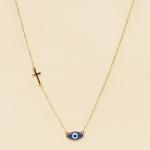 NA-111 Third Eye & Cross Charms Necklace, BU