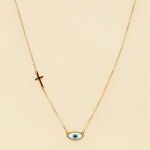 NA-111 Third Eye & Cross Charms Necklace, WT