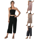 SL8901 Pleated Gaucho Cropped Pants